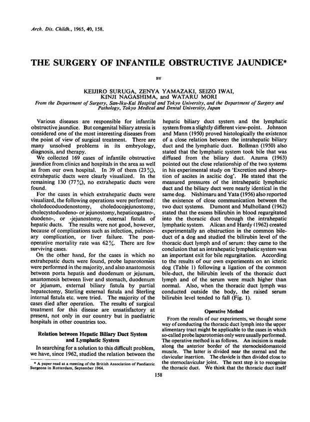 The Sugery of Infantile Obstructive Jaundice | Archives of