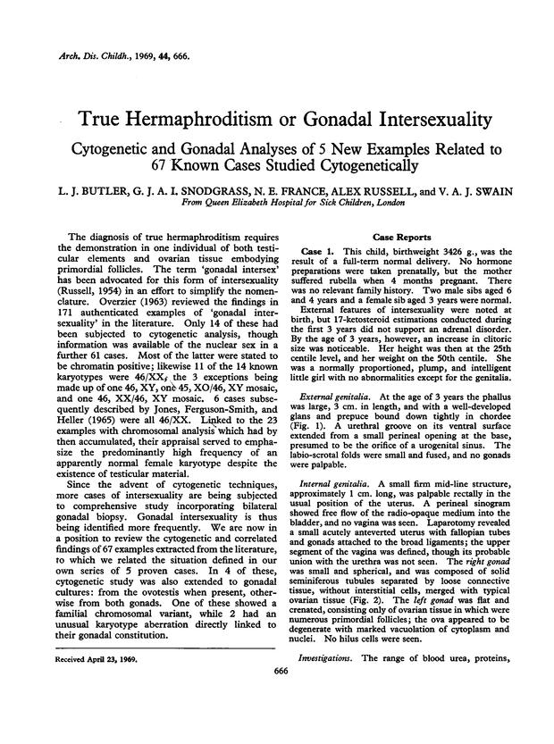 Gonadal intersexuality