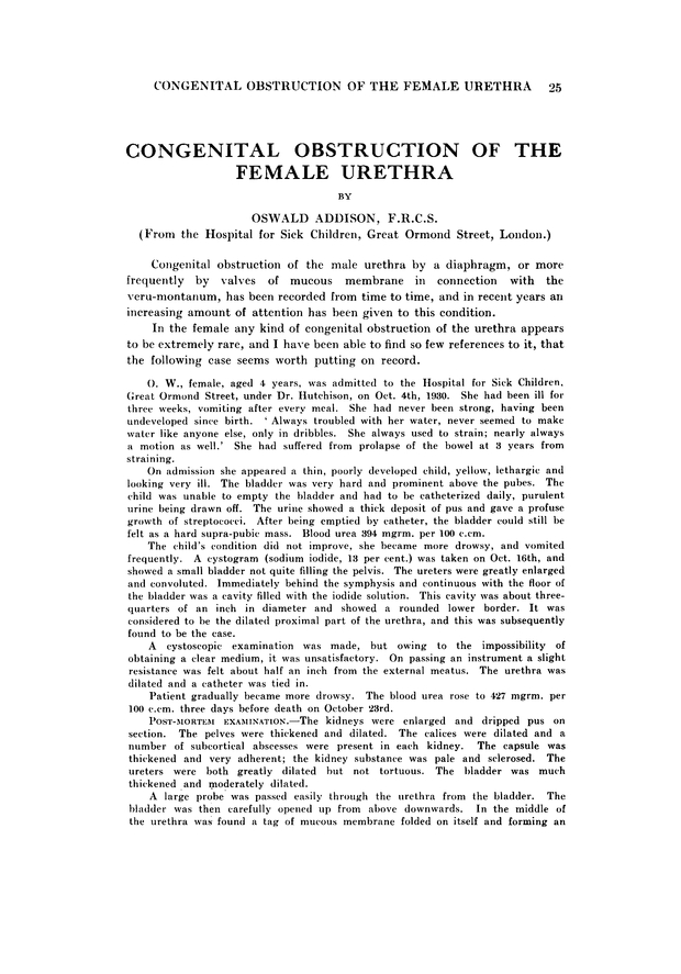 Congenital Obstruction Of The Female Urethra Archives Of Disease