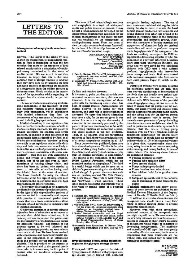 Dr Patel and coauthors comment | Archives of Disease in