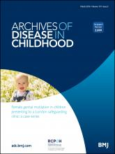 Archives of Disease in Childhood: 101 (3)