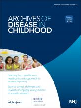 Archives of Disease in Childhood: 101 (9)