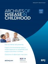 Archives of Disease in Childhood: 102 (2)