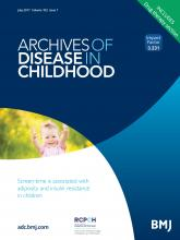 Archives of Disease in Childhood: 102 (7)