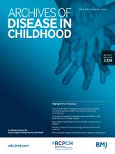 Archives of Disease in Childhood: 104 (3)