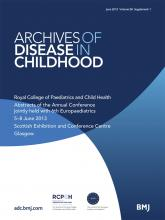 Archives of Disease in Childhood: 98 (Suppl 1)